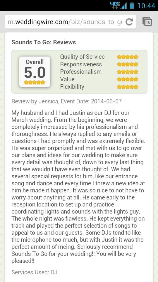great sacramento wedding dj reviews